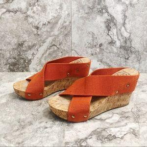 Lucky Brand Orange Miller Cork Wedges Sandals